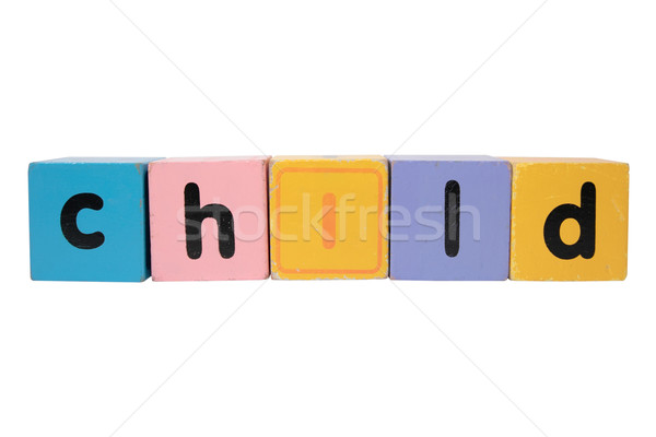 child in toy play block letters with clipping path on white Stock photo © morrbyte