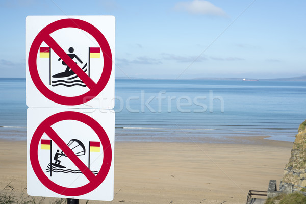 take heed signs for surfers in ballybunion Stock photo © morrbyte