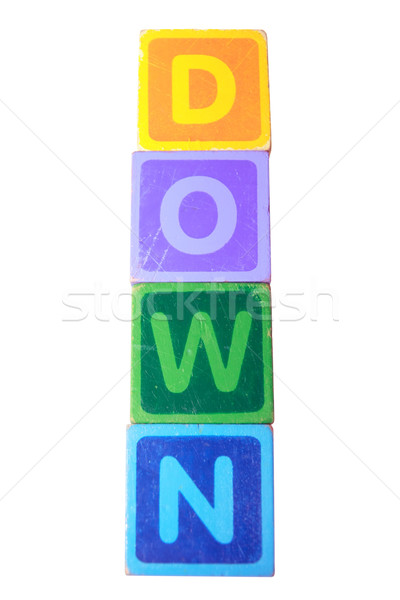 down in toy play block letters with clipping path Stock photo © morrbyte