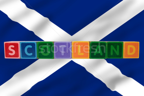 scotland and flag in toy block letters Stock photo © morrbyte