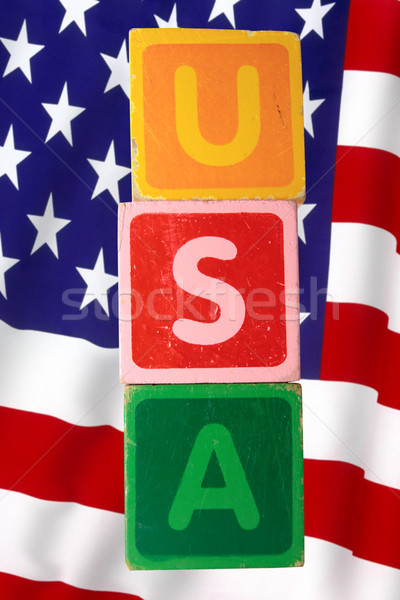 Stock photo: usa and flag in toy letters