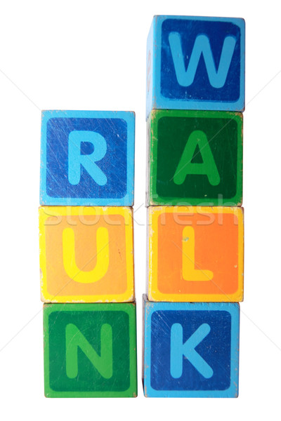 run before you can walk in toy block letters Stock photo © morrbyte