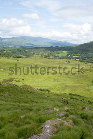 mountain view with hikers  Stock photo © morrbyte