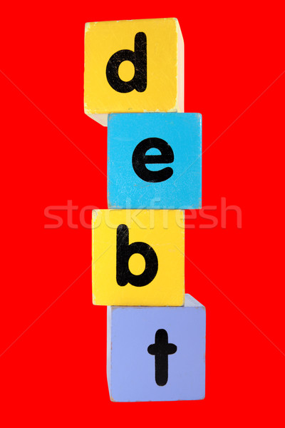 red debt in toy play block letters with clipping path Stock photo © morrbyte