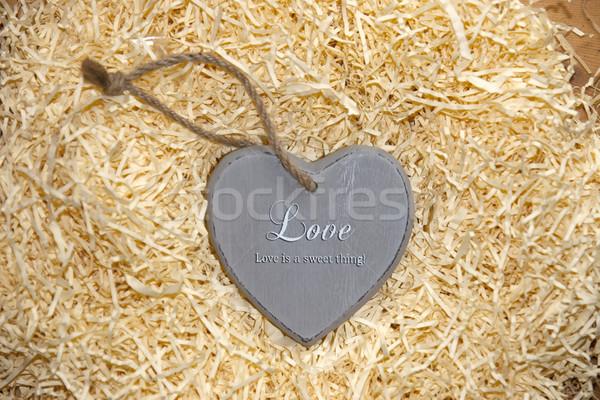 Amore cuore grigio dolce legno Foto d'archivio © morrbyte
