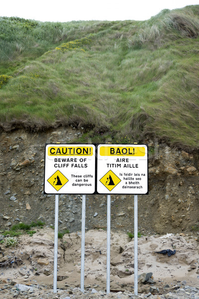 dual beware of cliff falls signs Stock photo © morrbyte