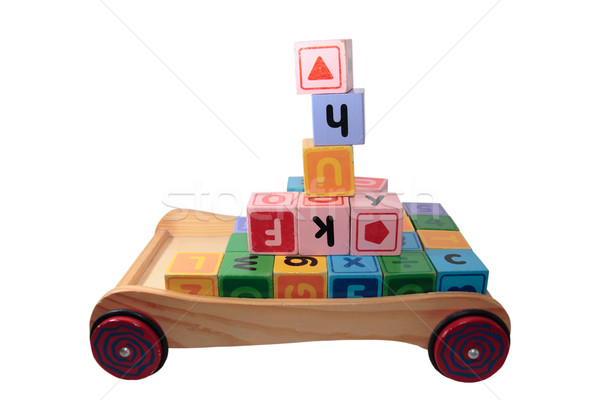 childrens play letter blocks in toy cart isolated on white Stock photo © morrbyte