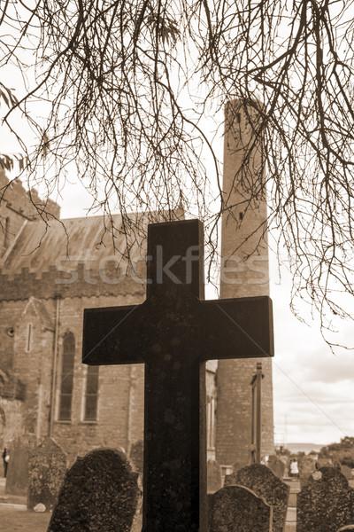 Sepya çapraz eski mezarlık katedral şehir Stok fotoğraf © morrbyte