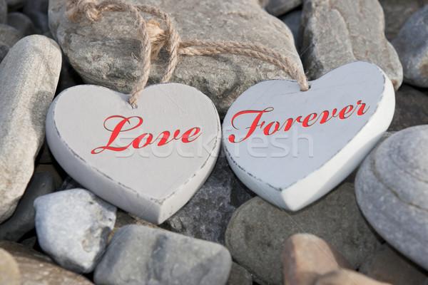 Kettő szeretet szívek tengerpart egy fából készült Stock fotó © morrbyte