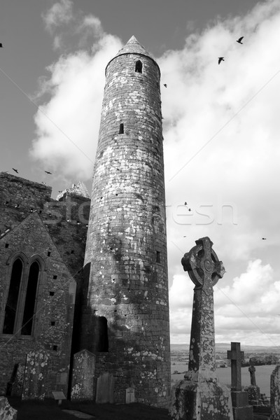 rock of cashel in black and white Stock photo © morrbyte
