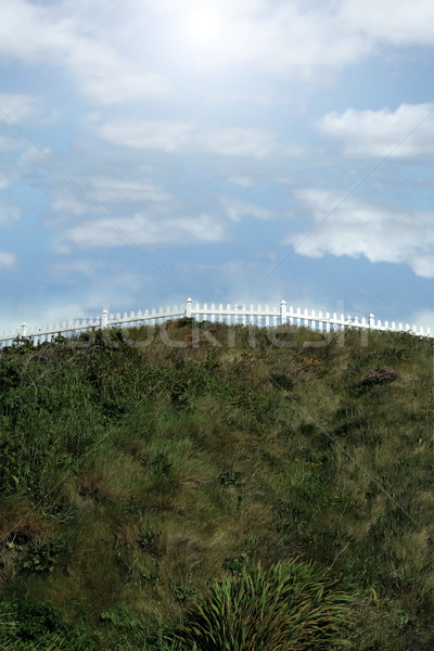 hill top picket fence Stock photo © morrbyte