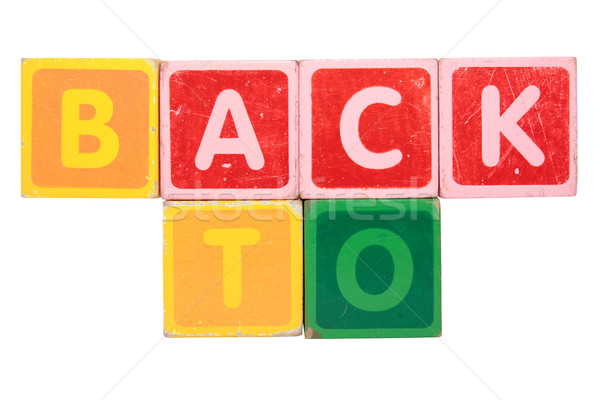 back to in toy block letters Stock photo © morrbyte