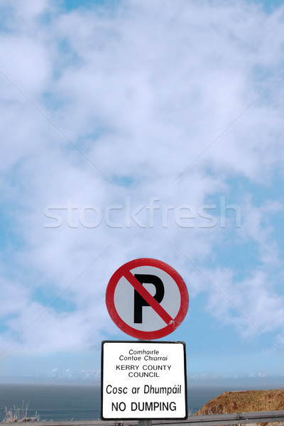no parking and dumping sign on cliff edge Stock photo © morrbyte