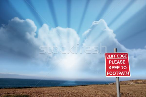 cliff edge warnings Stock photo © morrbyte