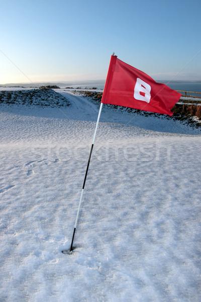ストックフォト: 雪 · カバー · リンク · ゴルフコース · 赤 · フラグ