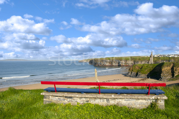 Ballybunion bench beach and castle view Stock photo © morrbyte