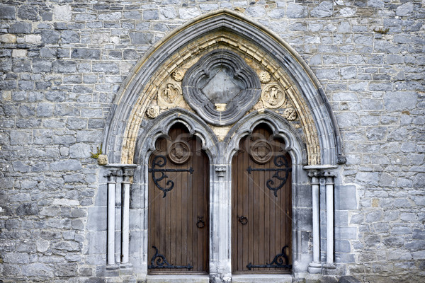 double arched wooden doors Stock photo © morrbyte