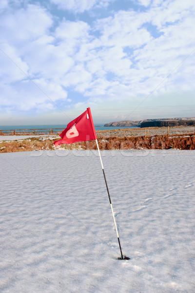 Foto d'archivio: Neve · coperto · campo · da · golf · bandiera · Irlanda