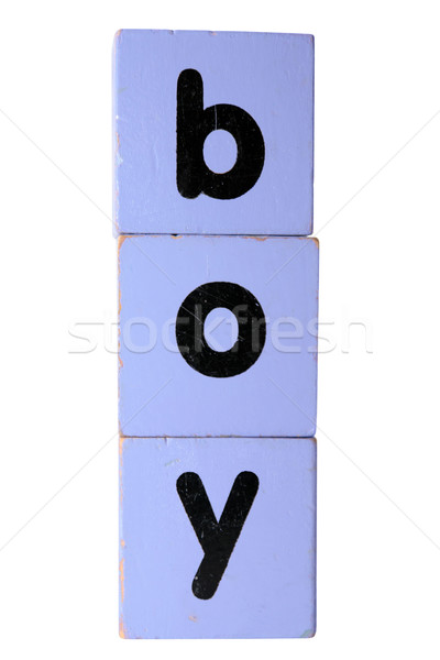boy in play block letters with clipping path Stock photo © morrbyte
