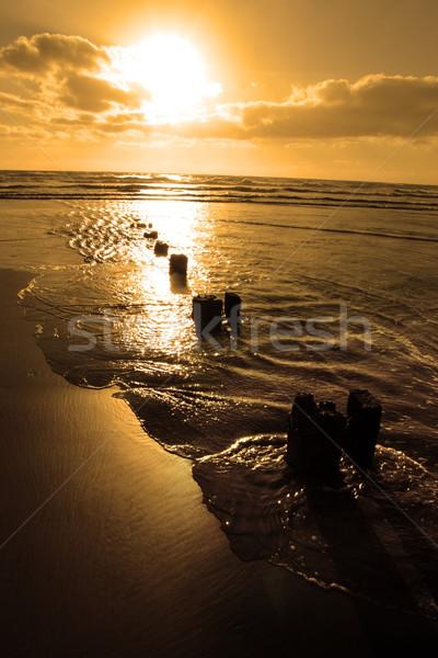 Сток-фото: волна · закат · пляж · пробка · Ирландия