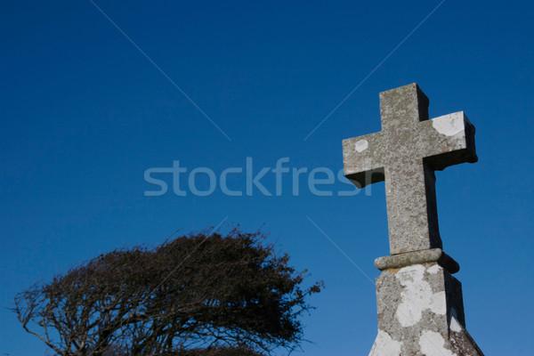Celtic kamień krzyż irlandzki cmentarz niebo Zdjęcia stock © morrbyte
