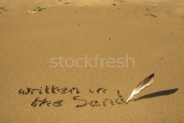書かれた 砂 羽毛 中古 ペン 書く ストックフォト © morrbyte