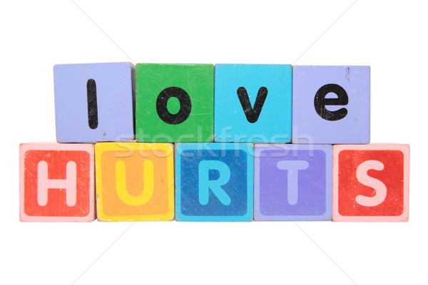 love hurts in toy blocks Stock photo © morrbyte
