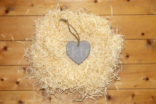 Egyedüli szív szeretet fészek szürke fából készült Stock fotó © morrbyte