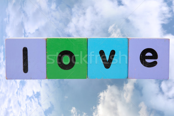 love against clouds with clipping path Stock photo © morrbyte