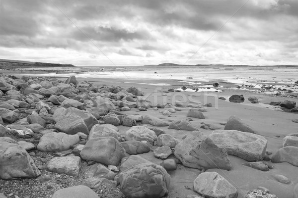 stormy clouds over rocky beal beach Stock photo © morrbyte