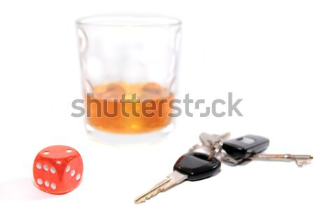 car keys inside whiskey glass Stock photo © morrbyte