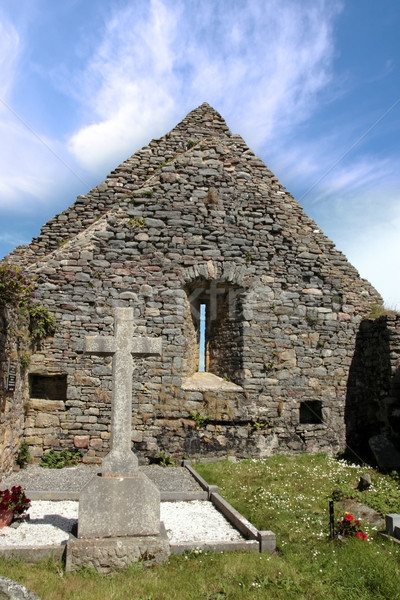 Ierse kerkhof west kust Ierland kruis Stockfoto © morrbyte
