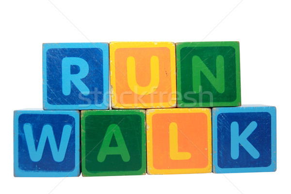 run before walk in toy block letters Stock photo © morrbyte