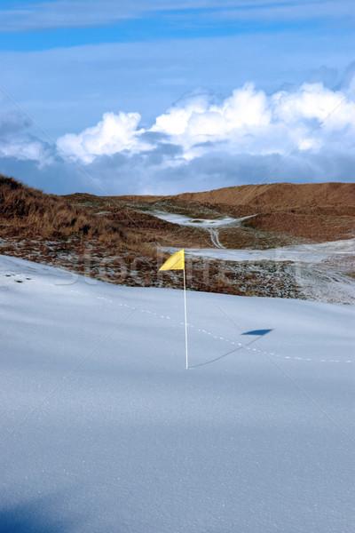 Stockfoto: Koud · sneeuw · gedekt · links · golfbaan · Geel