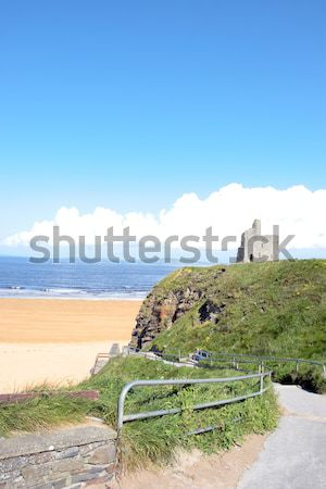 path and benches to Ballybunion castle and beach Stock photo © morrbyte
