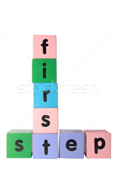 first step in toy play block letters with clipping path Stock photo © morrbyte