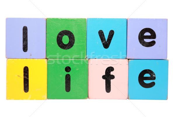 Szeretet élet építőkockák játék levelek varázsige Stock fotó © morrbyte