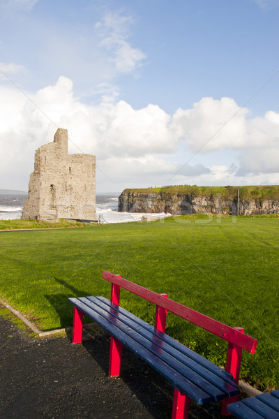 Stock photo: benches with views of Ballybunion castle and coast