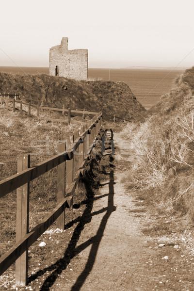 sepia fenced path to Ballybunion beach Stock photo © morrbyte