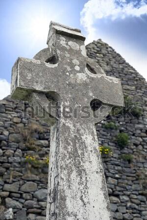 古い ケルト クロス 頭 石 墓 ストックフォト © morrbyte