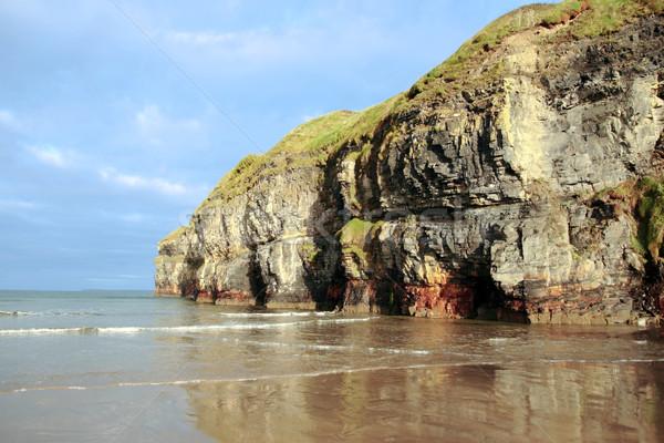 ballybunion beach cliff reflection Stock photo © morrbyte