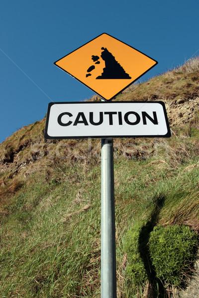 Allarme cartello stradale segno strada panorama montagna Foto d'archivio © morrbyte