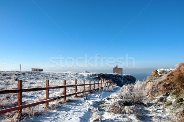 fenced walk to ballybunion castle in winter snow Stock photo © morrbyte
