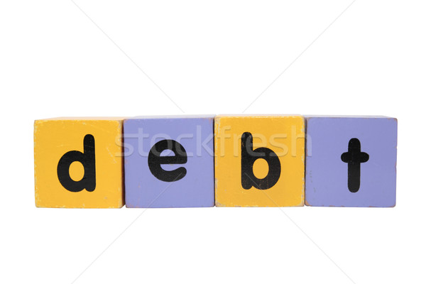 debt in toy play block letters with clipping path on white Stock photo © morrbyte