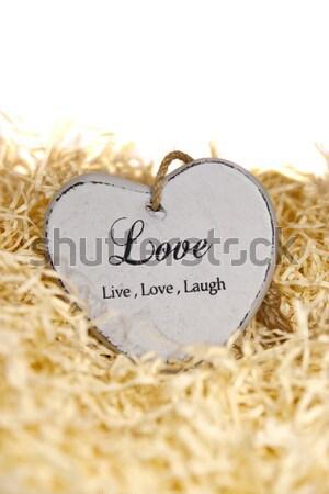 Live liefde lachen hart grijs houten Stockfoto © morrbyte
