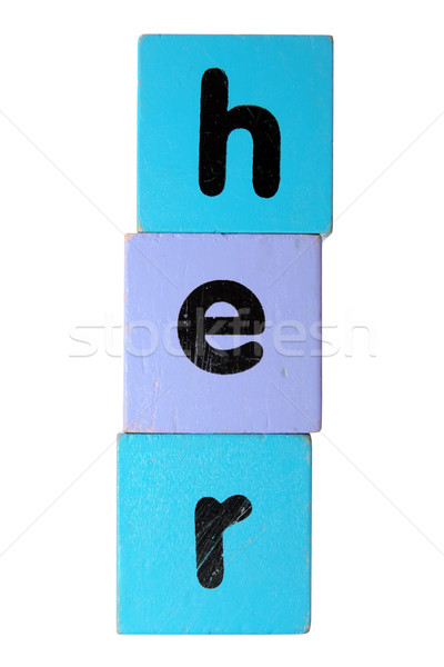 her in play block letters with clipping path Stock photo © morrbyte