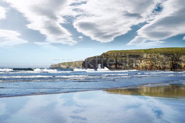 Foto stock: Reflexão · nuvens · molhado · arenoso · praia