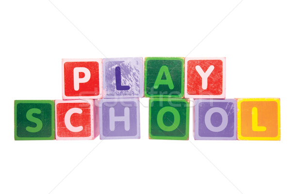 playschool in toy play block letters with clipping path on white Stock photo © morrbyte