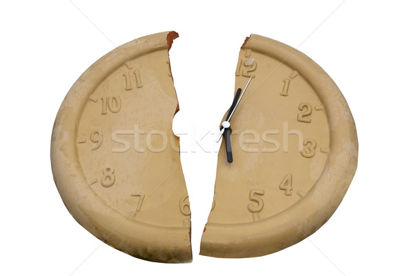broken clock face with clipping path Stock photo © morrbyte