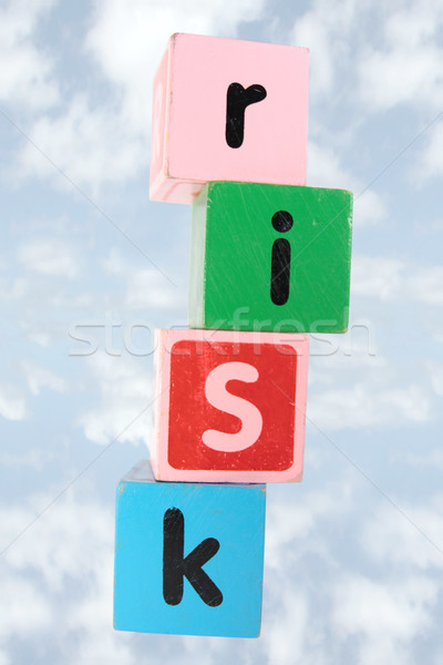 cloudy risk in toy play block letters with clipping path Stock photo © morrbyte